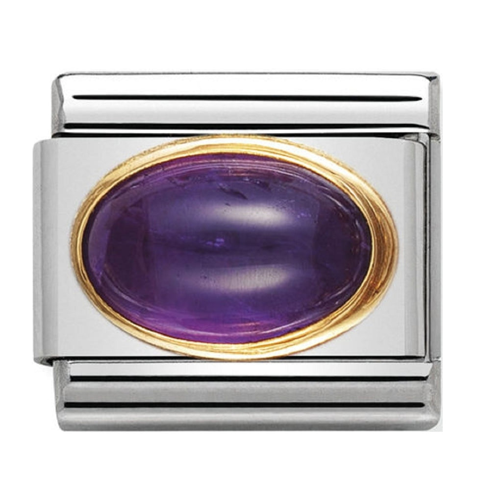 Nomination Charms Amethyst Oval with Gold