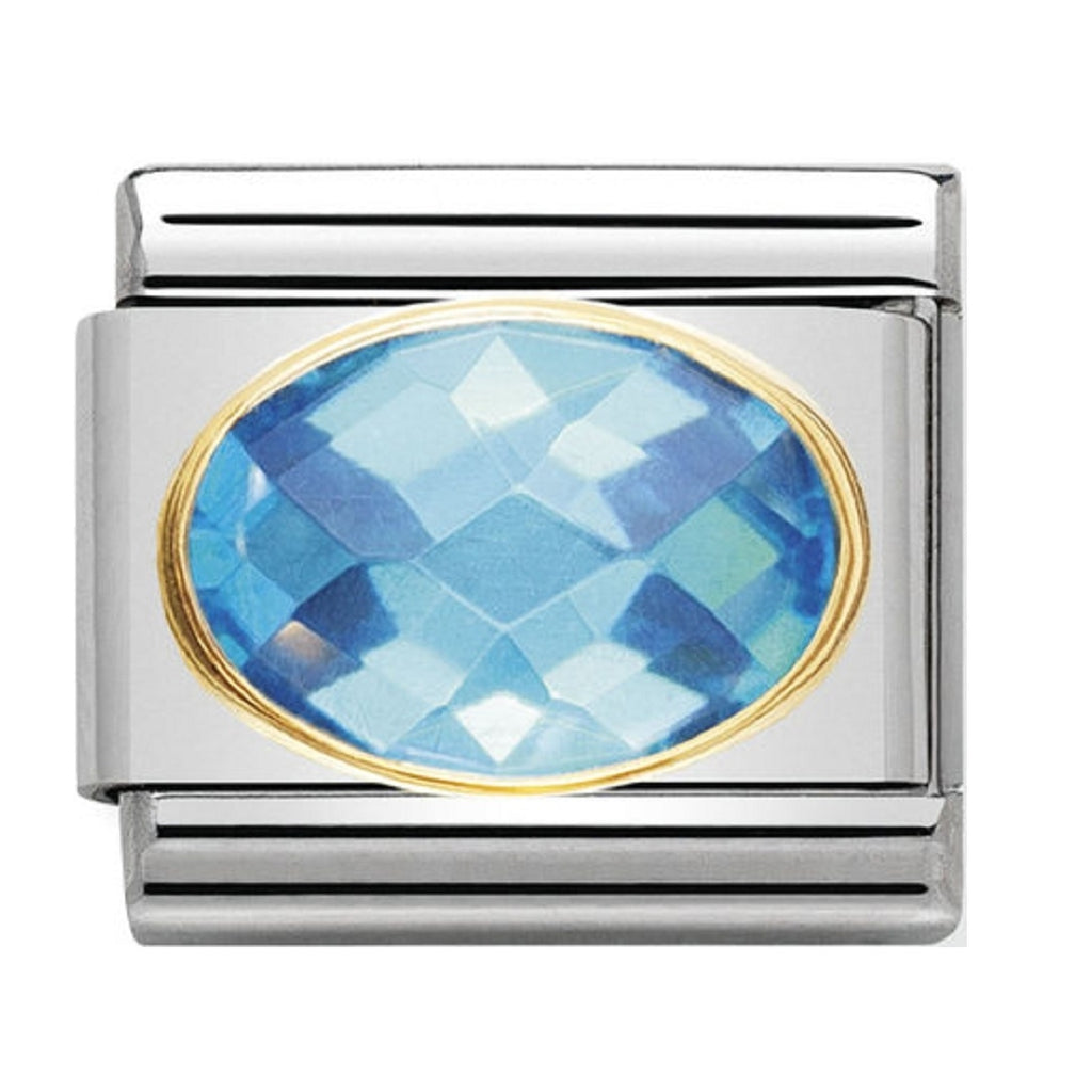 Nomination Charms Light Blue Oval CZ with Gold