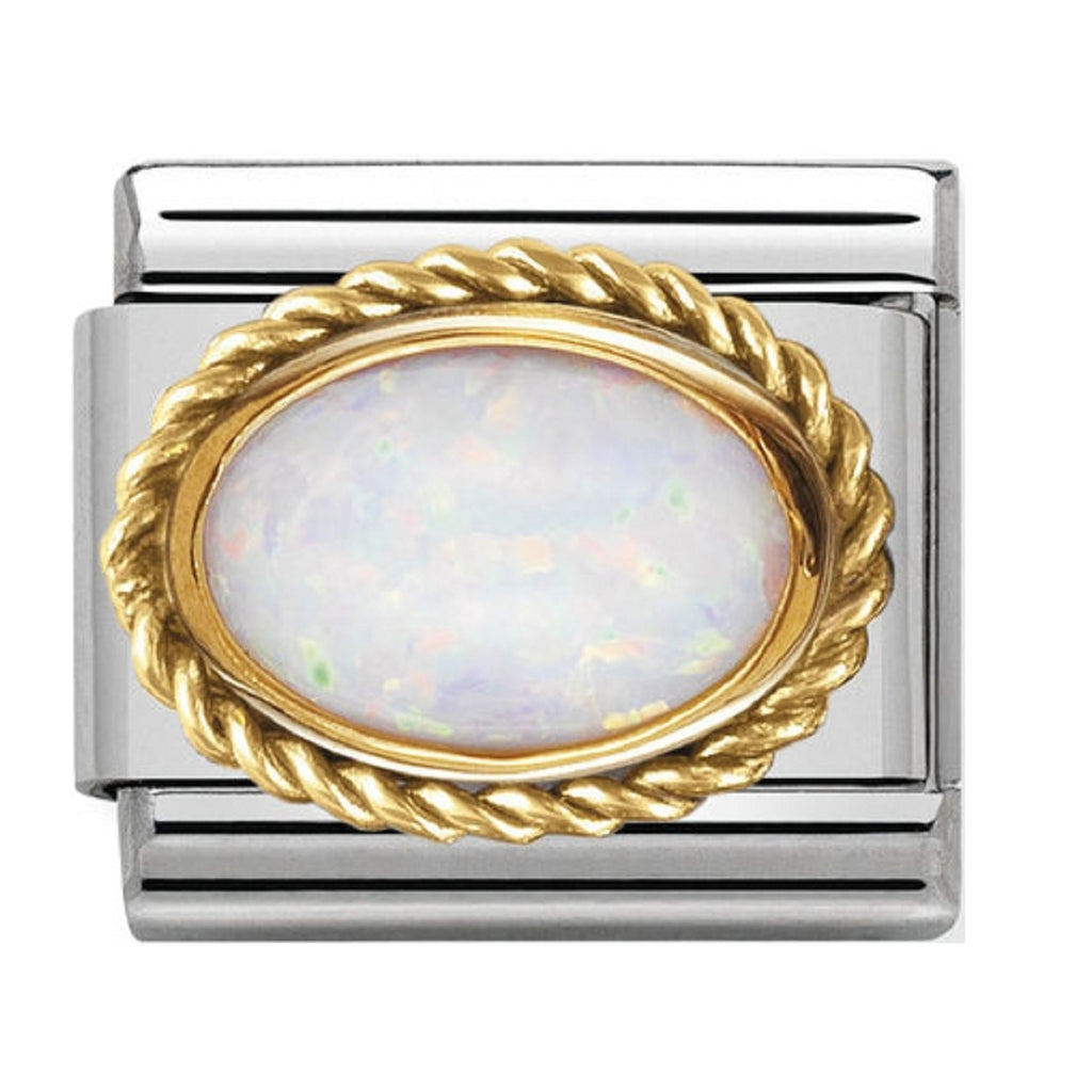 Nomination Charms Oval Opal with Gold Surround