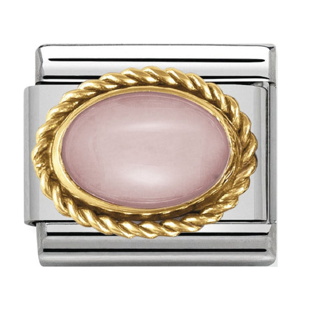 Nomination Charms Pink Opal Oval with Gold Surround
