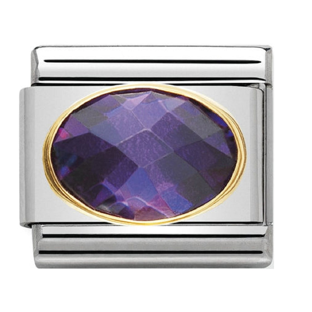 Nomination Charms Purple Oval CZ with Gold