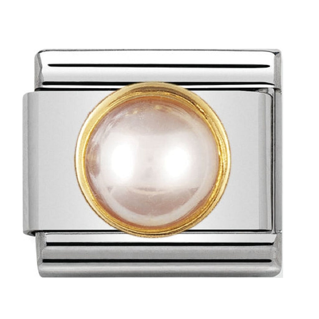 Nomination Charms Round Pink Pearl with Gold