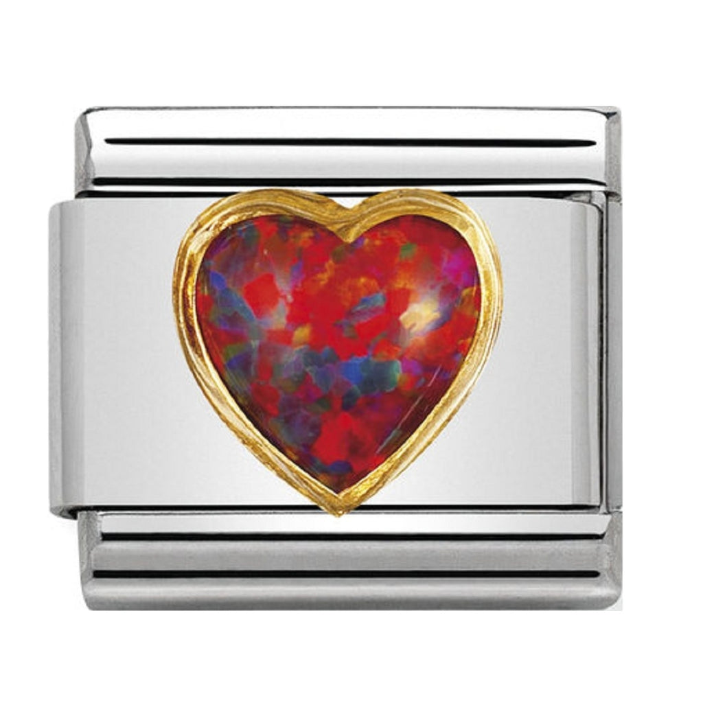 Nomination Charms Red Opal Heart with Gold