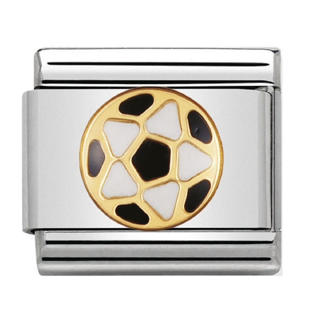 Nomination Charms 18ct and Black Enamel Football