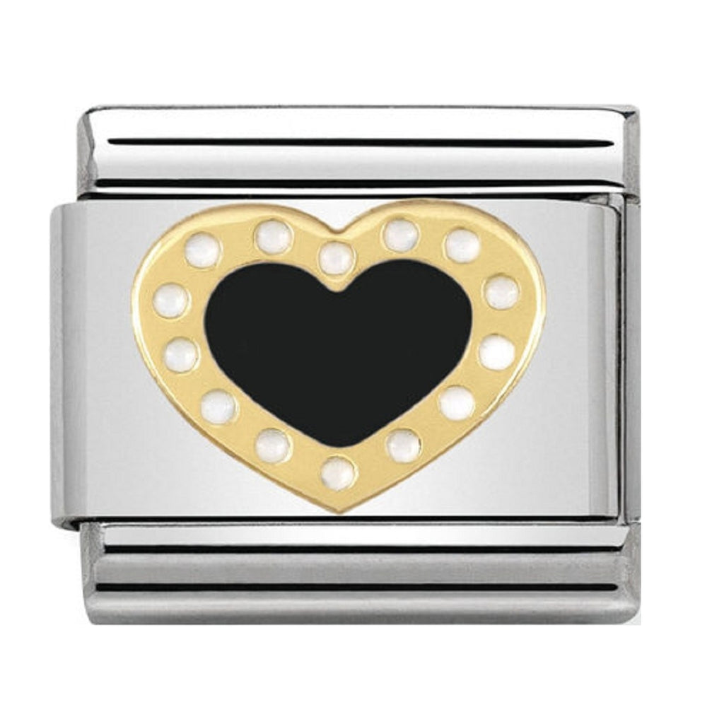 Nomination Charms 18ct and Black Enamel Heart