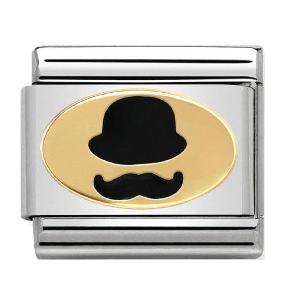 Nomination Charms 18ct and Enamel Bowler Hat & Mustache