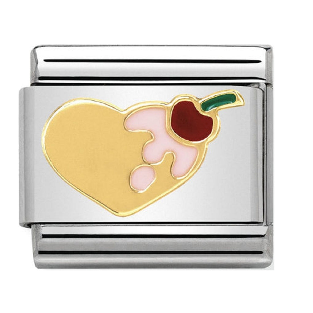 Nomination Charms 18ct and Enamel Heart with Cherry on top
