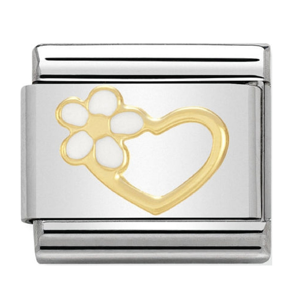 Nomination Charms 18ct and Enamel Heart with Flower