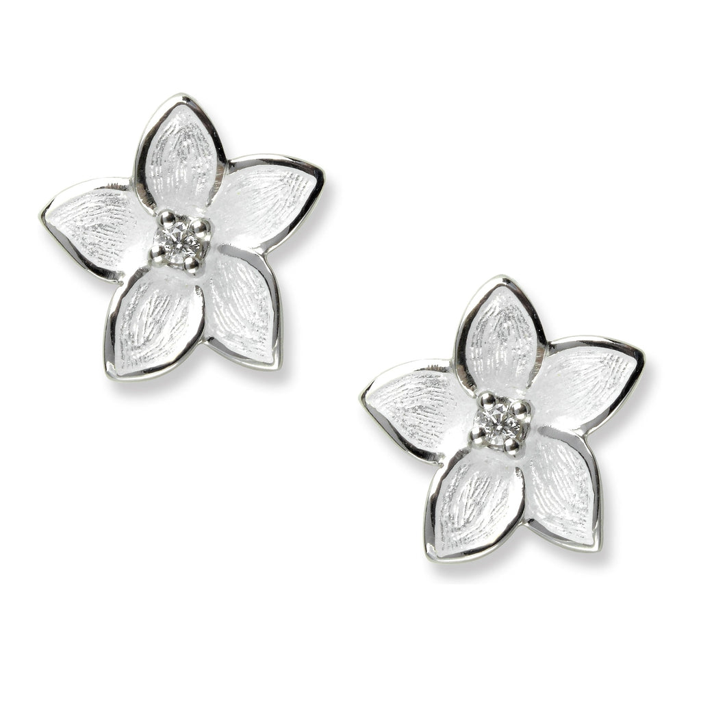 Nicole Barr White Flower Sapphire Earrings