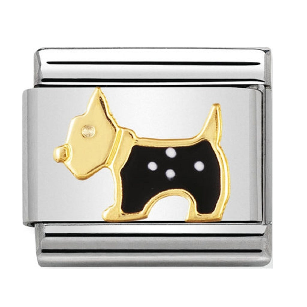 Nomination Charms 18ct and Enamel Scottie Dog
