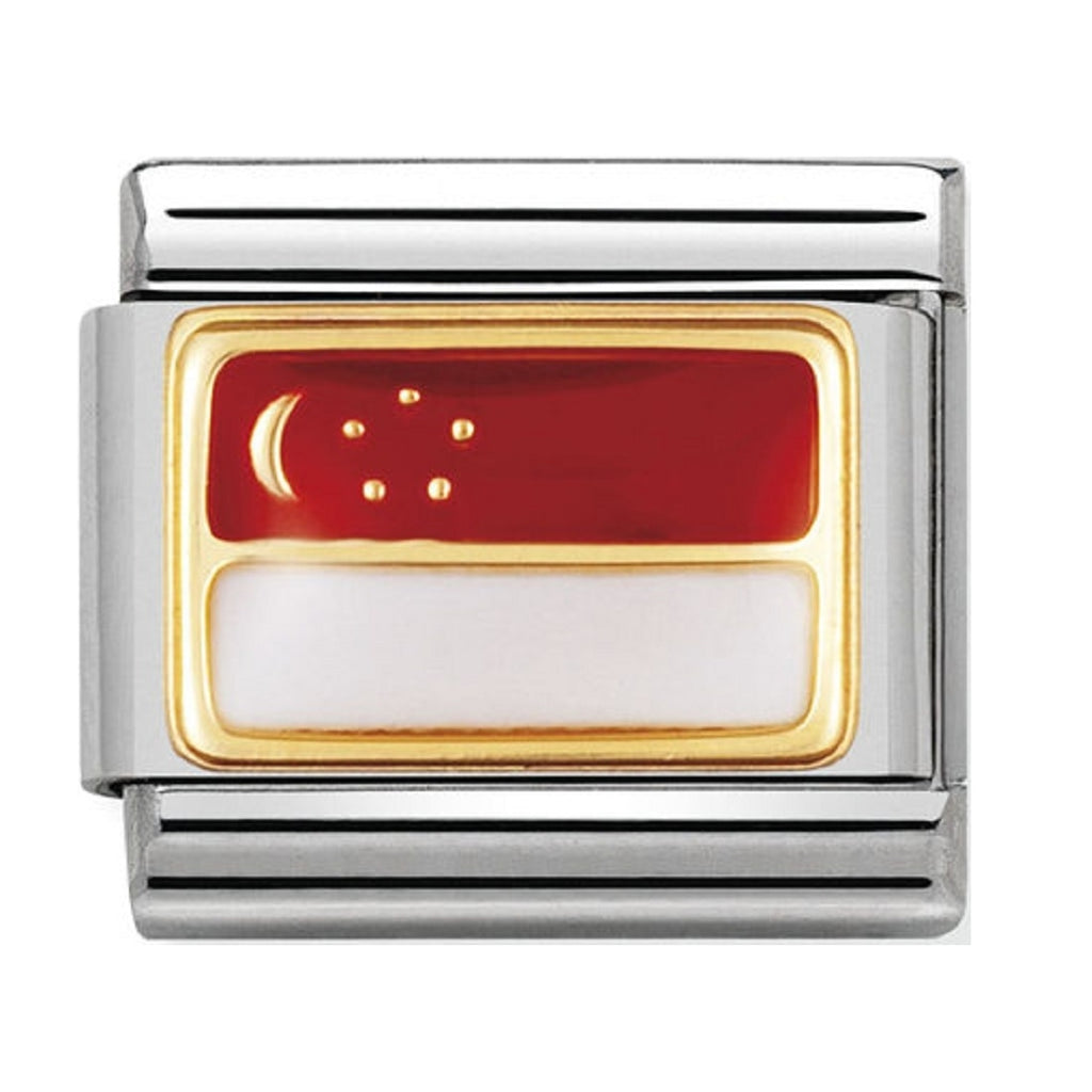 Nomination Charms 18ct and Enamel Singapore Flag