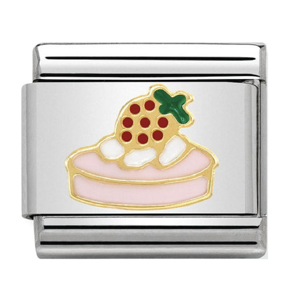 Nomination Charms 18ct and Enamel Strawberry Tart