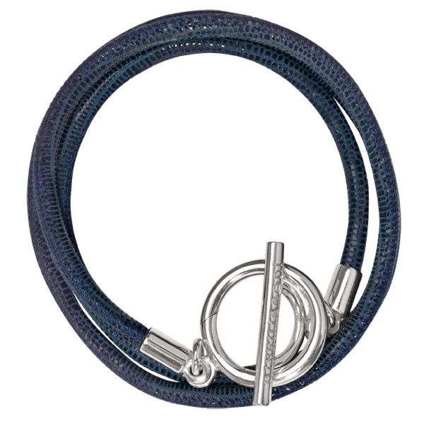 Nikki Lissoni Bracelet Leather Cord Gold Plated Blue 21cm