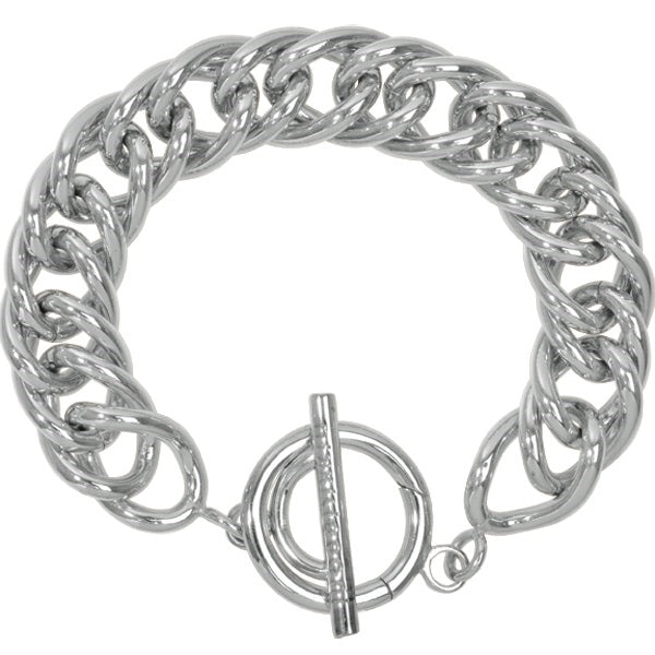 Nikki Lissoni Bracelet Double Curved Silver Plated 19cm