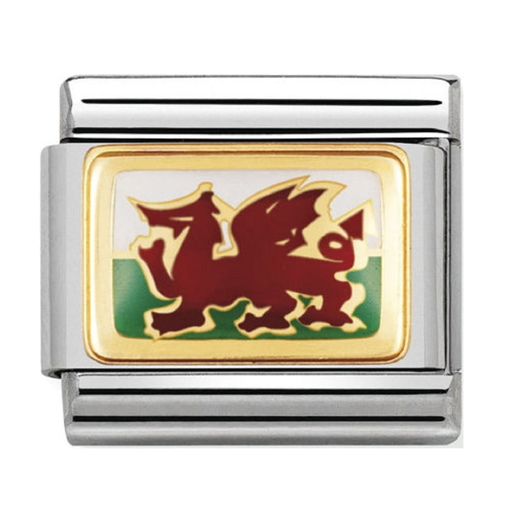 Nomination Charms 18ct and Enamel Welsh Flag