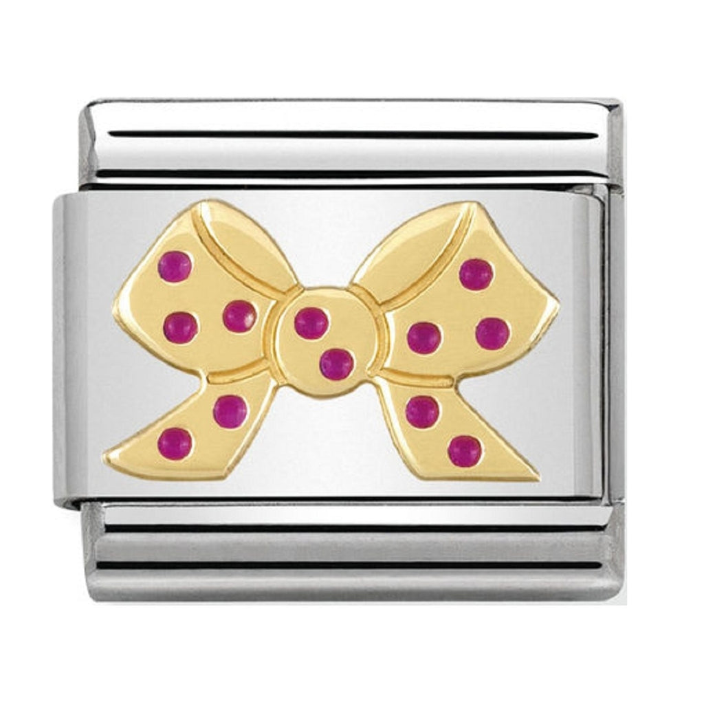 Nomination Charms 18ct and Pink Enamel Bow