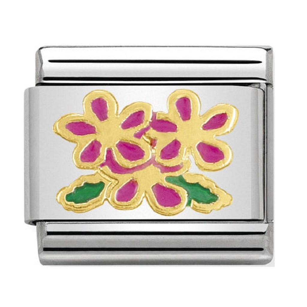 Nomination Charms 18ct and Pink Enamel Primroses