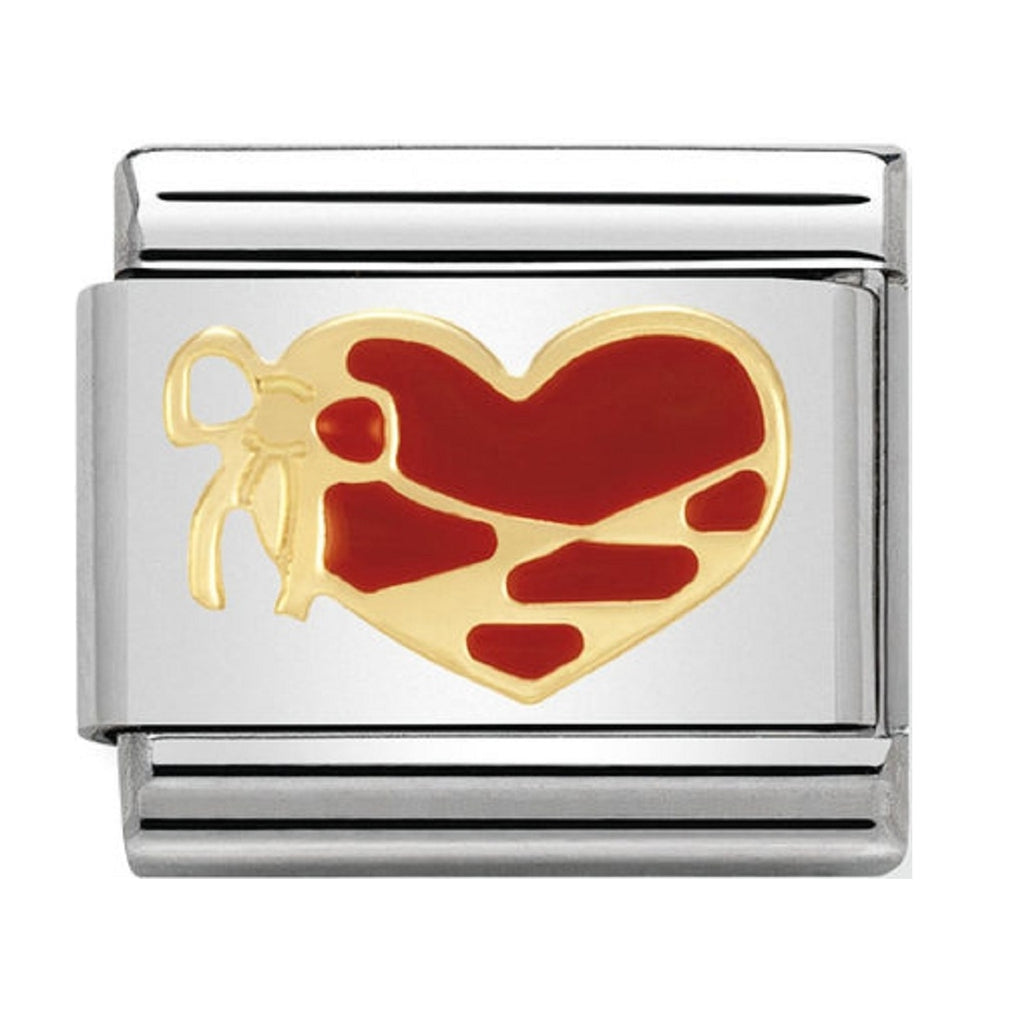 Nomination Charms 18ct and Red Enamel Heart with ribbon