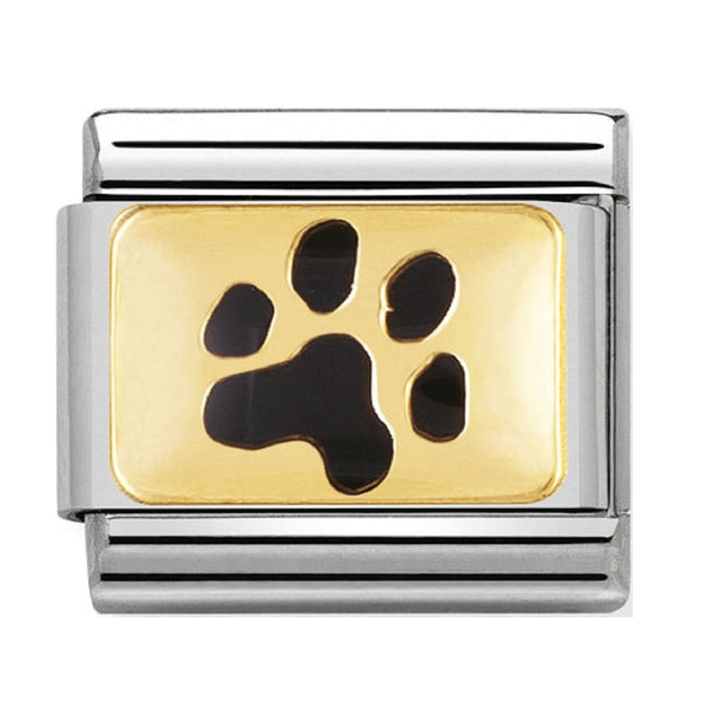 Nomination Charms 18ct Gold and Black Enamel Paw Print 030212-35