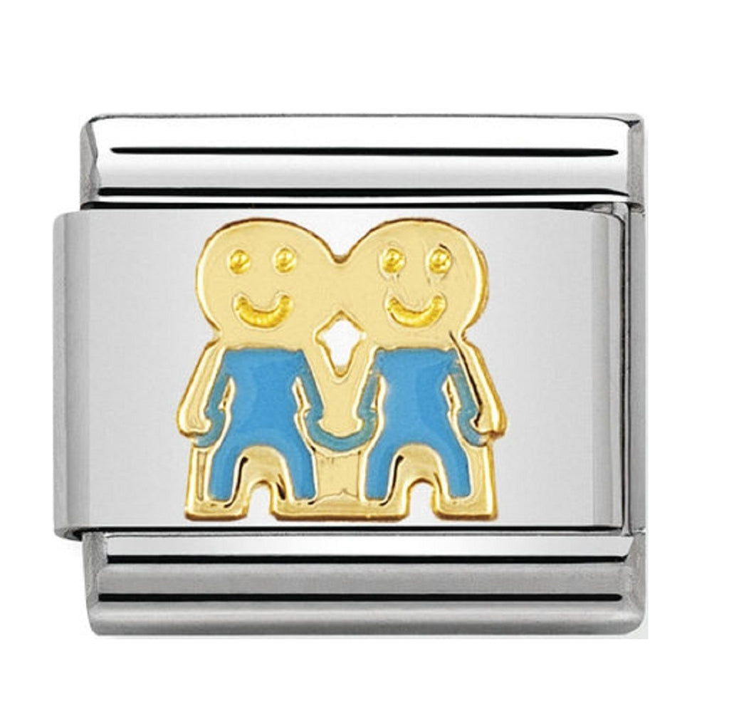 Nomination Charms 18ct Gold and Blue Enamel Boys