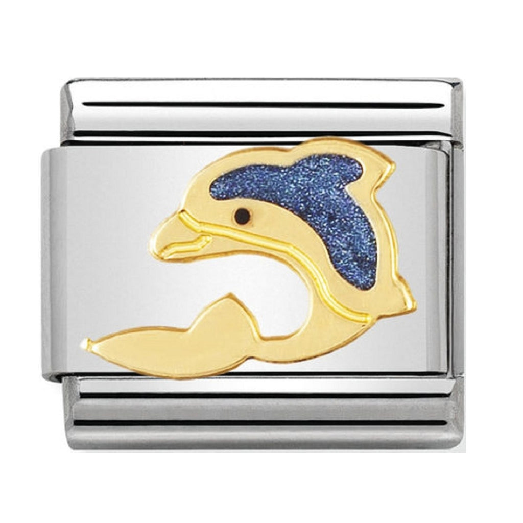 Nomination Charms 18ct Gold and Blue Enamel Dolphin