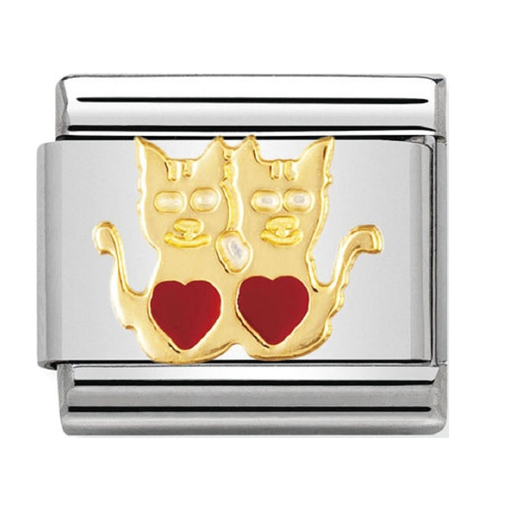 Nomination Charms 18ct Gold and Enamel Cats with Hearts Charm 030248-01