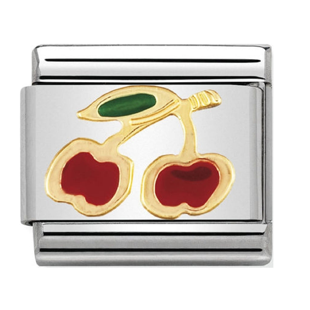 Nomination Charms 18ct Gold and Enamel Cherries