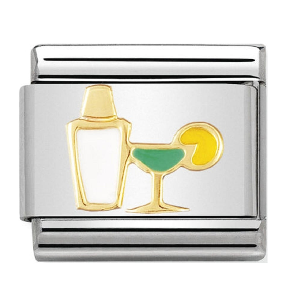 Nomination Charms 18ct Gold and Enamel Cocktail Shaker