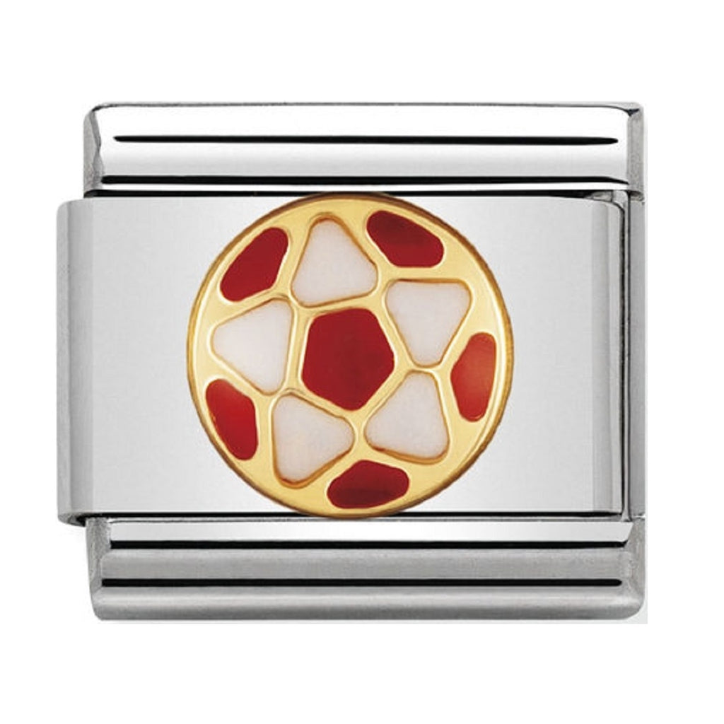 Nomination Charms 18ct Gold and Enamel Football Red 030204-38