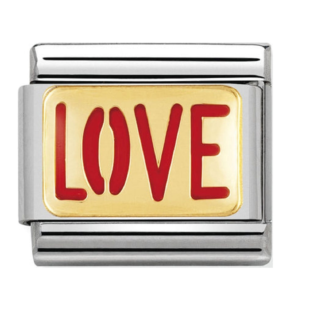 Nomination Charms 18ct Gold and Enamel Love