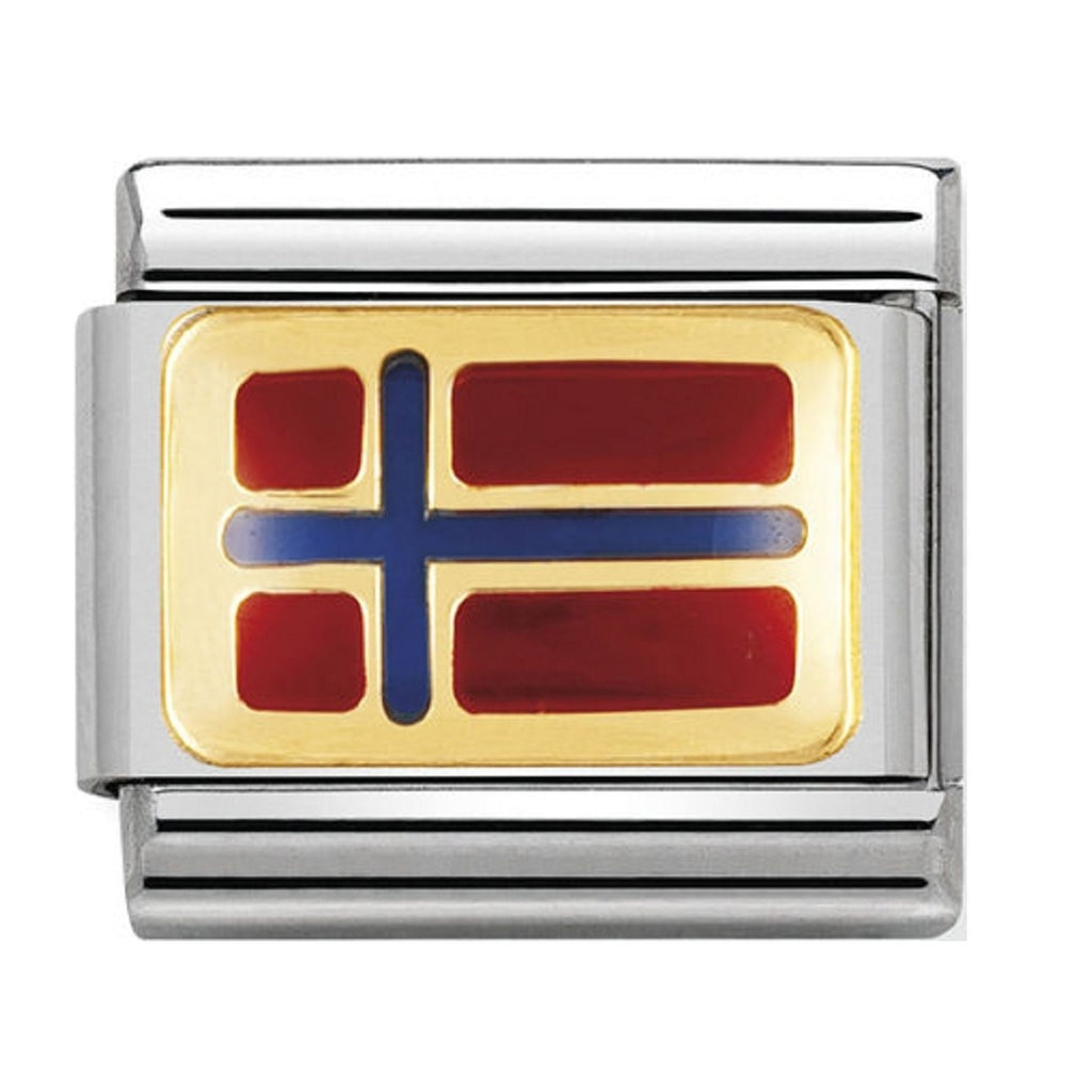 Nomination Charms 18ct Gold and Enamel Norway Flag