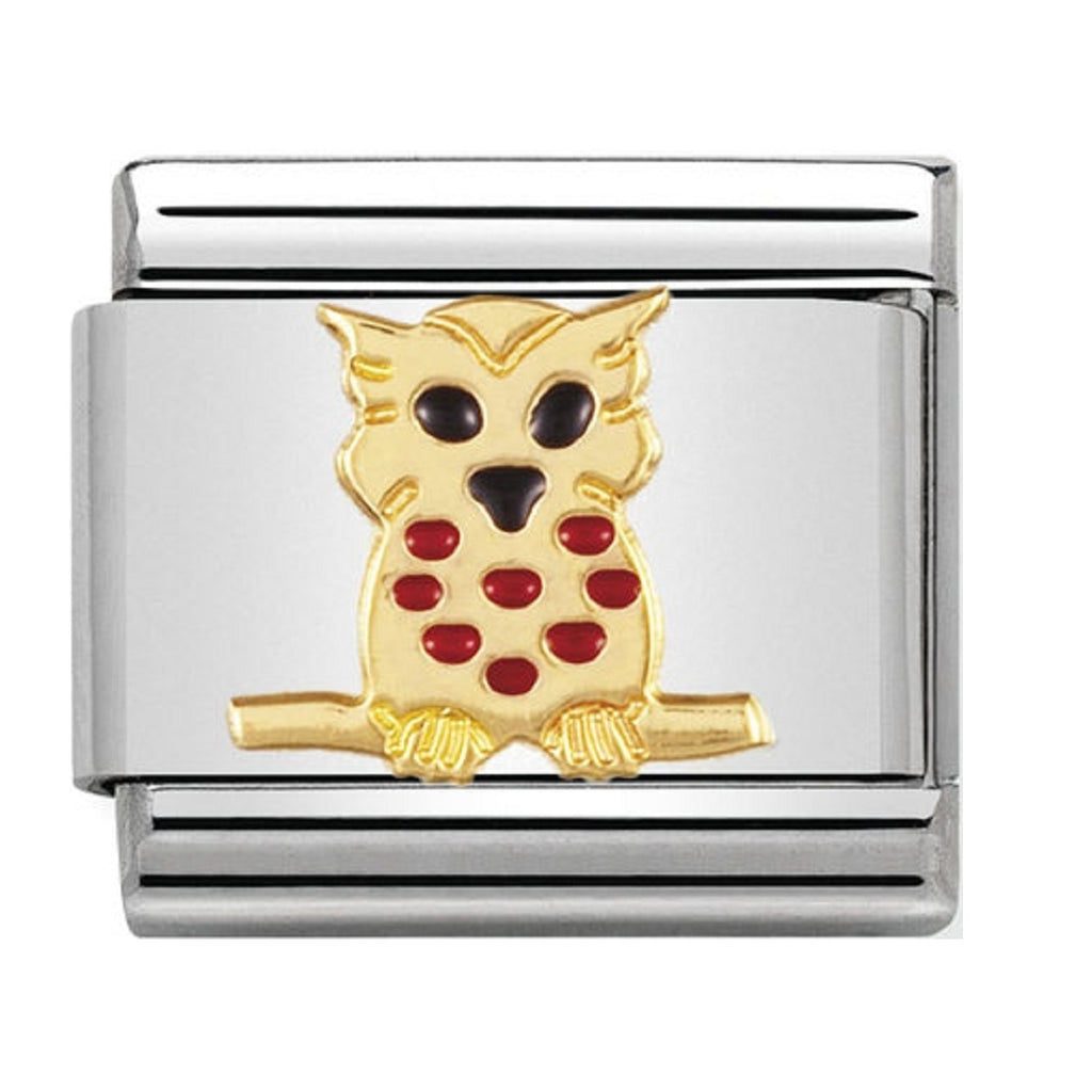 Nomination Charms 18ct Gold and Enamel Owl