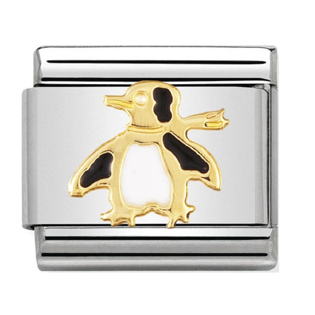 Nomination Charms 18ct Gold and Enamel Penguin
