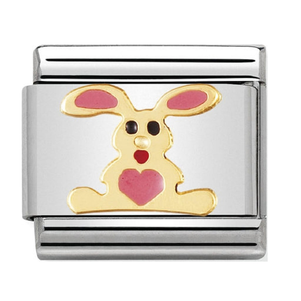Nomination Charms 18ct Gold and Enamel Rabbit