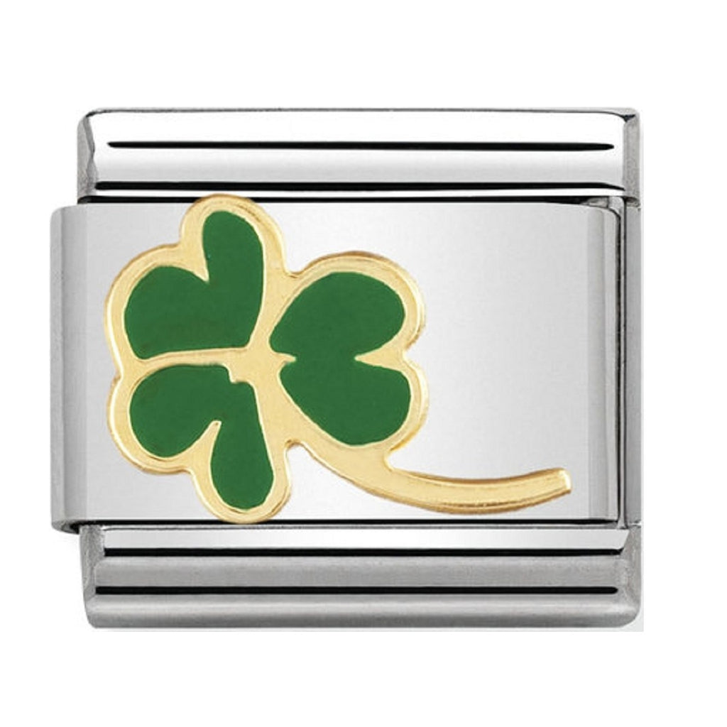 Nomination Charms 18ct Gold and Enamel Four Leaf Clover