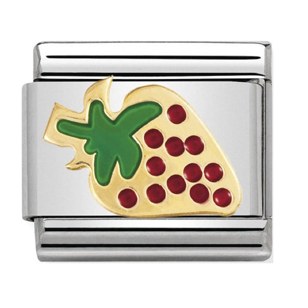 Nomination Charms 18ct Gold and Enamel Strawberry