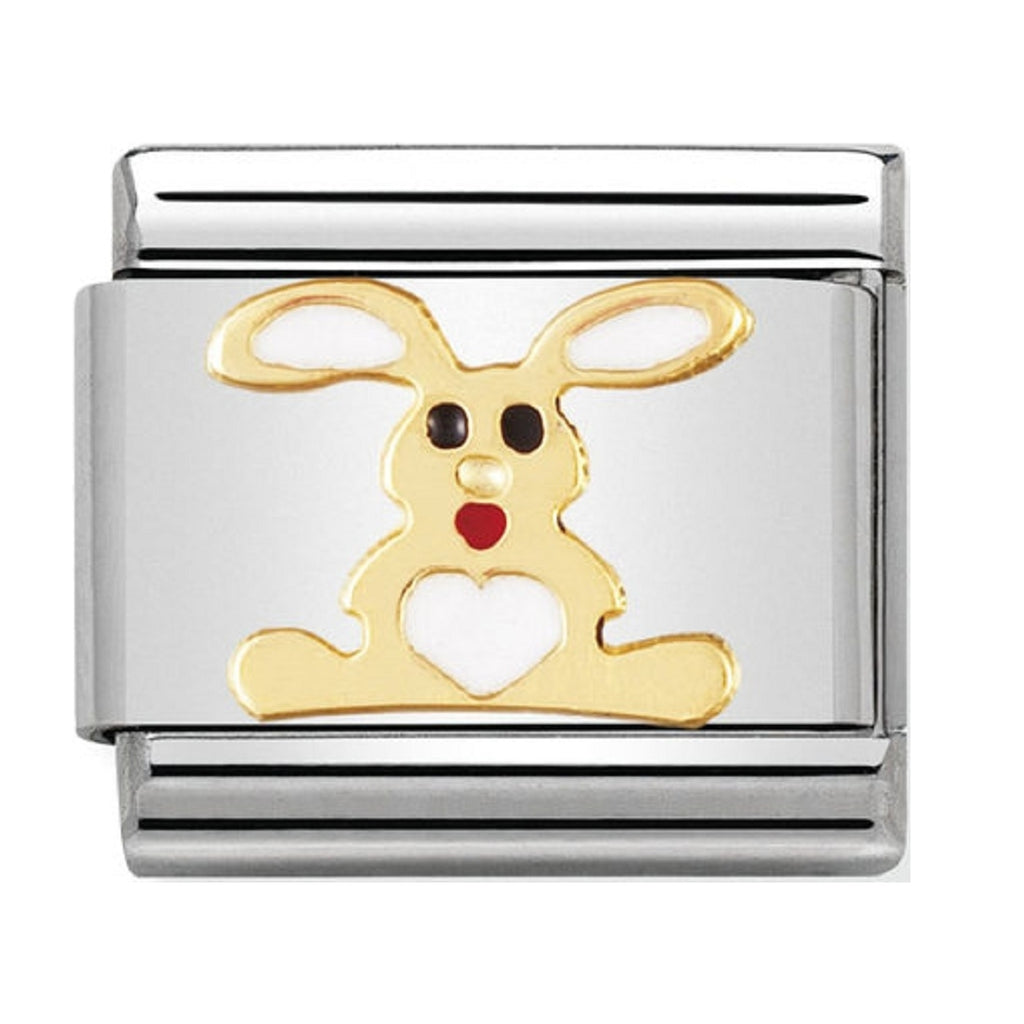 Nomination Charms 18ct Gold and Enamel White Rabbit