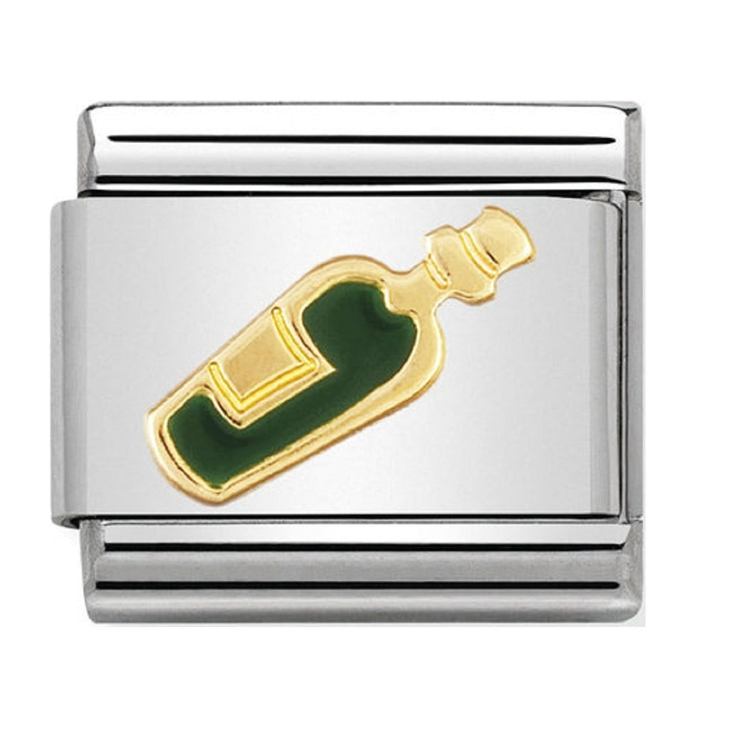 Nomination Charms 18ct Gold and Enamel White Wine Bottle