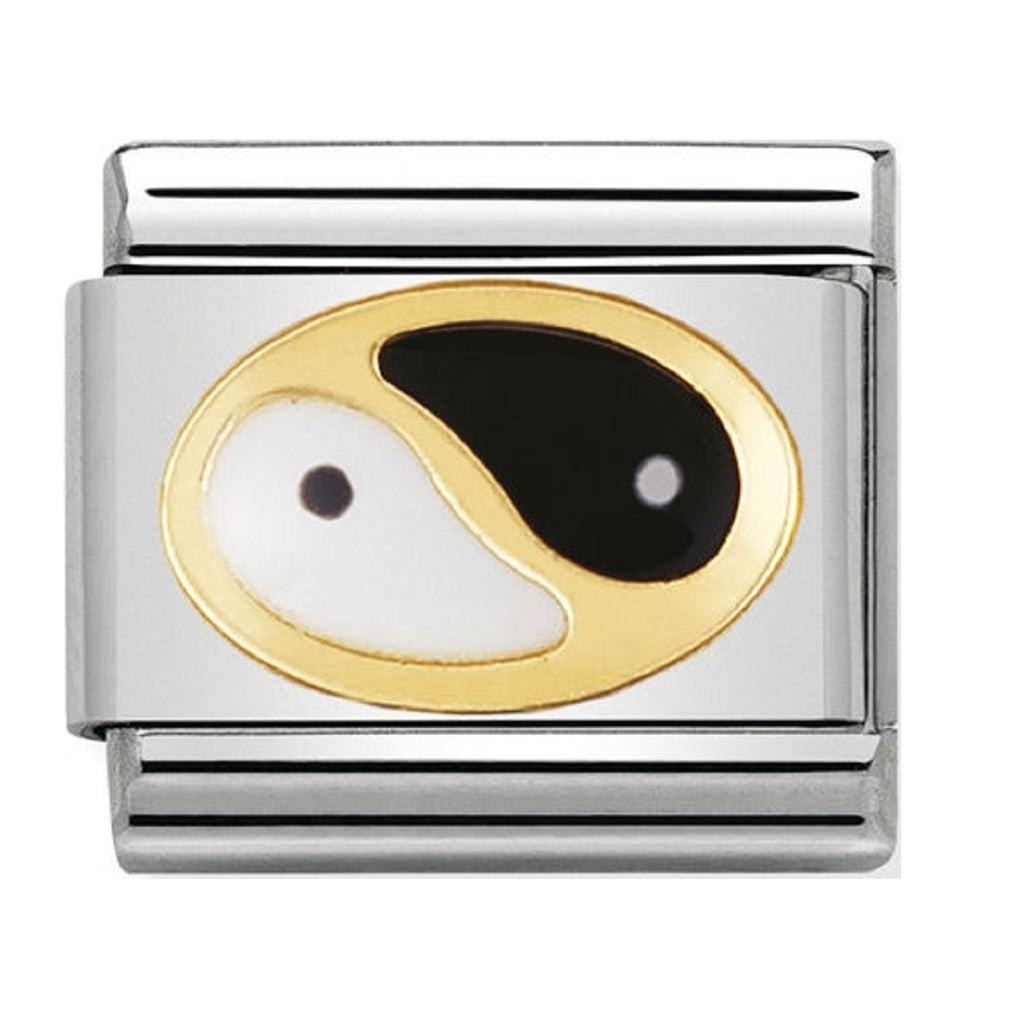 Nomination Charms 18ct Gold and Enamel Ying Yang