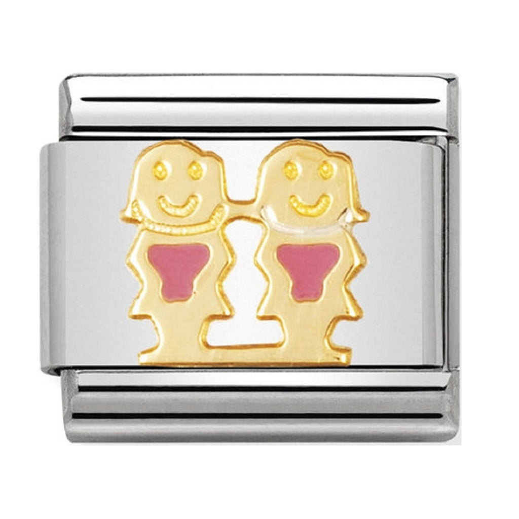 Nomination Charms 18ct Gold and Pink Enamel Girls