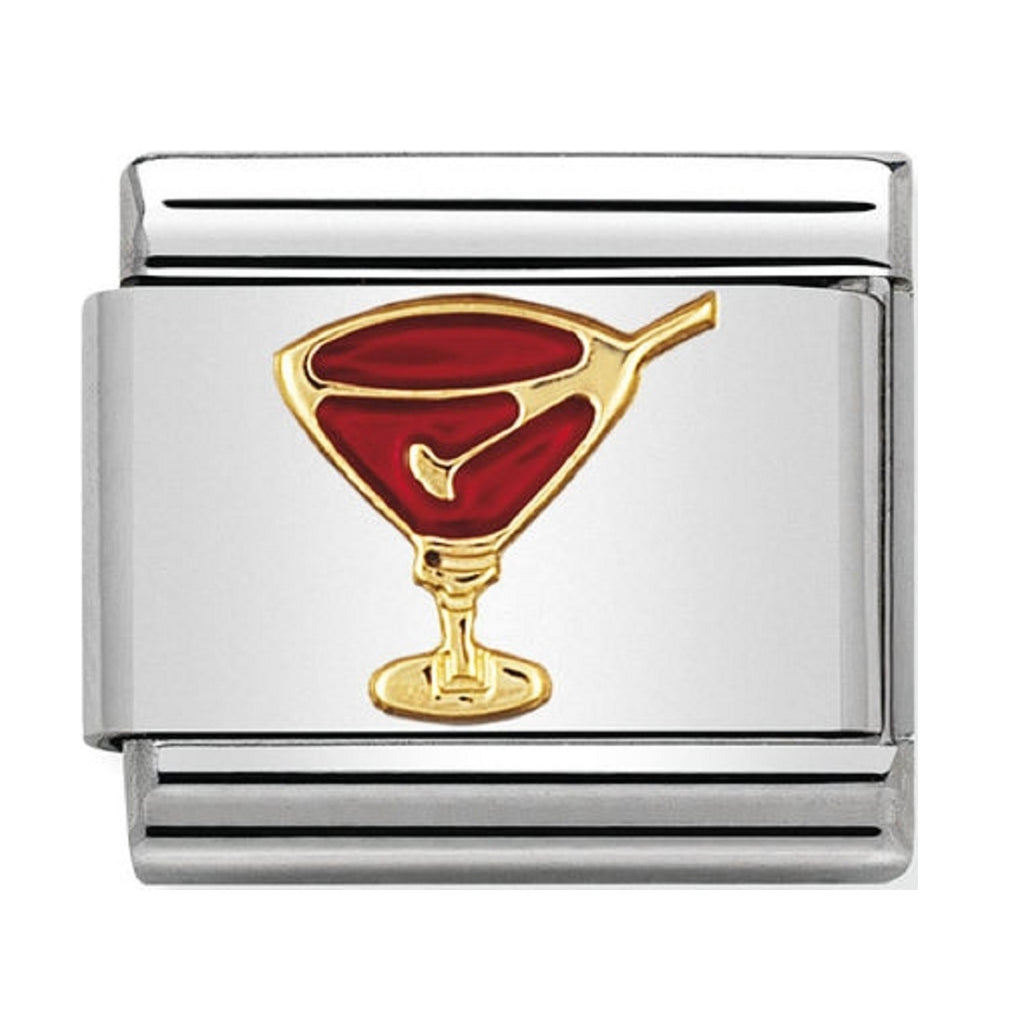 Nomination Charms 18ct Gold and Red Enamel Cocktail