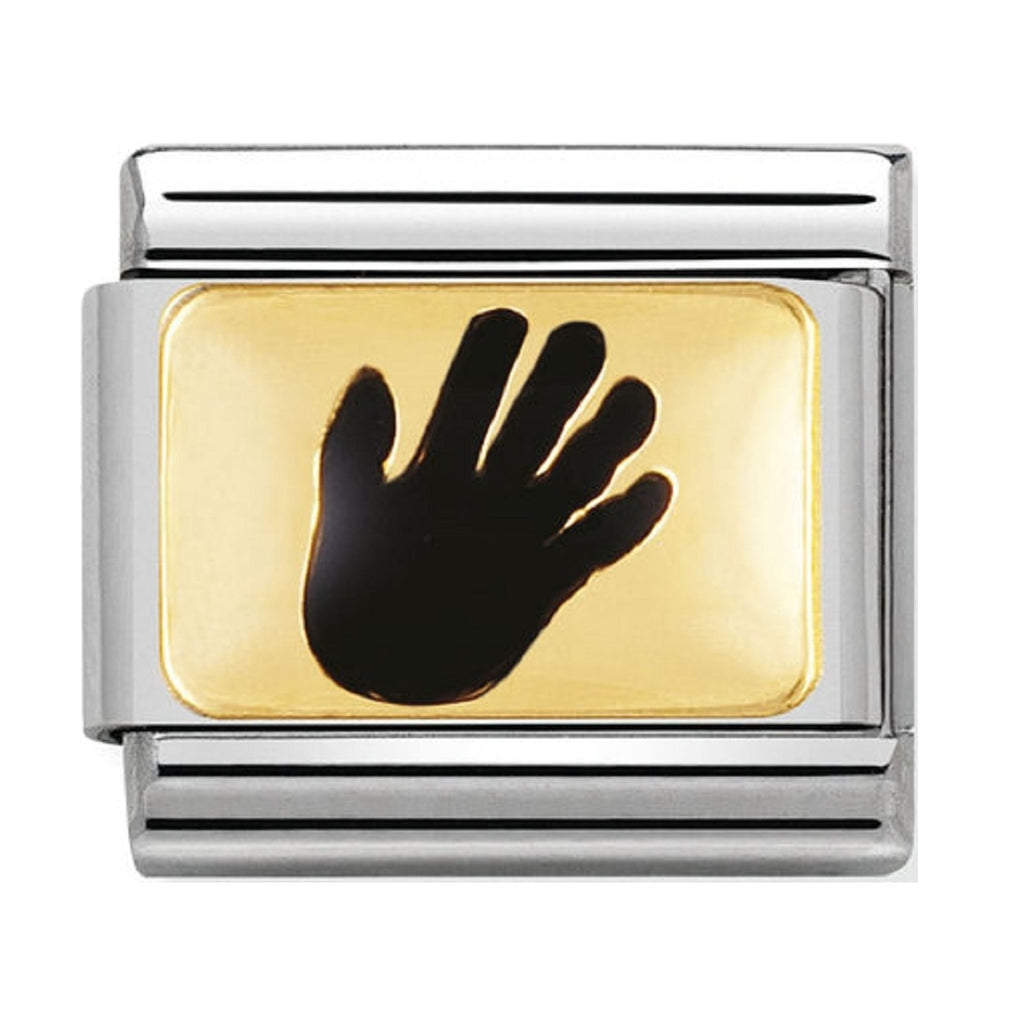 Nomination Charms Black Hand Gold Plaque