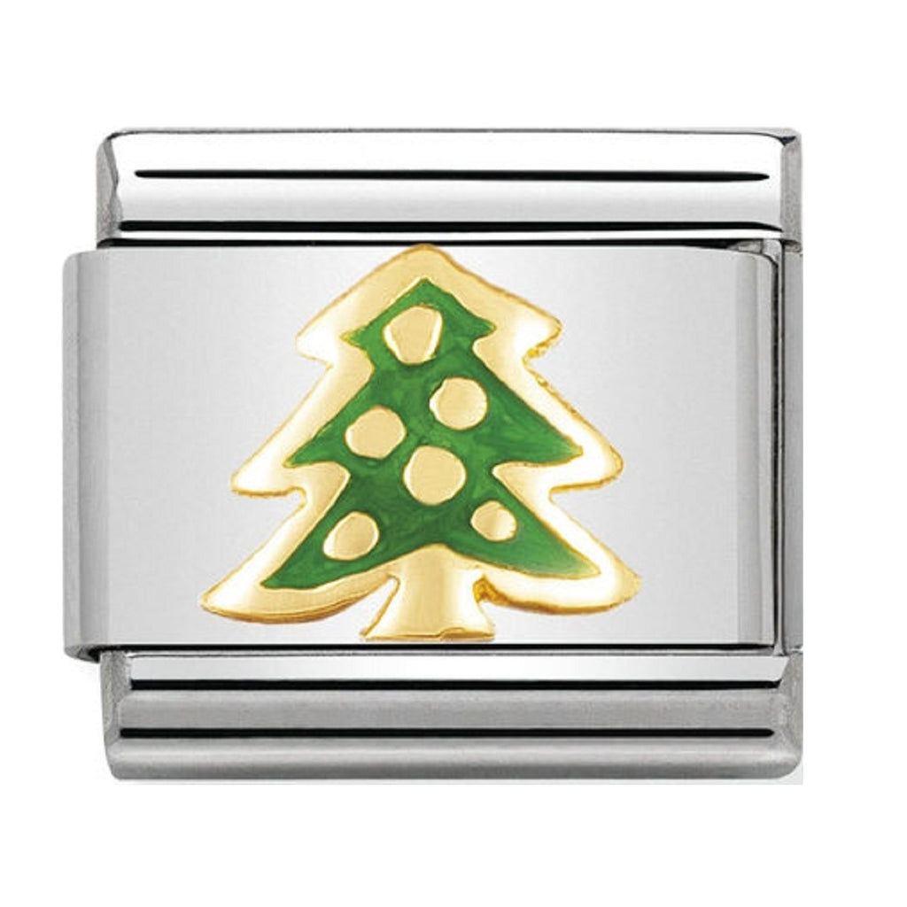 Nomination Charms Christmas Tree 18ct gold and Enamel