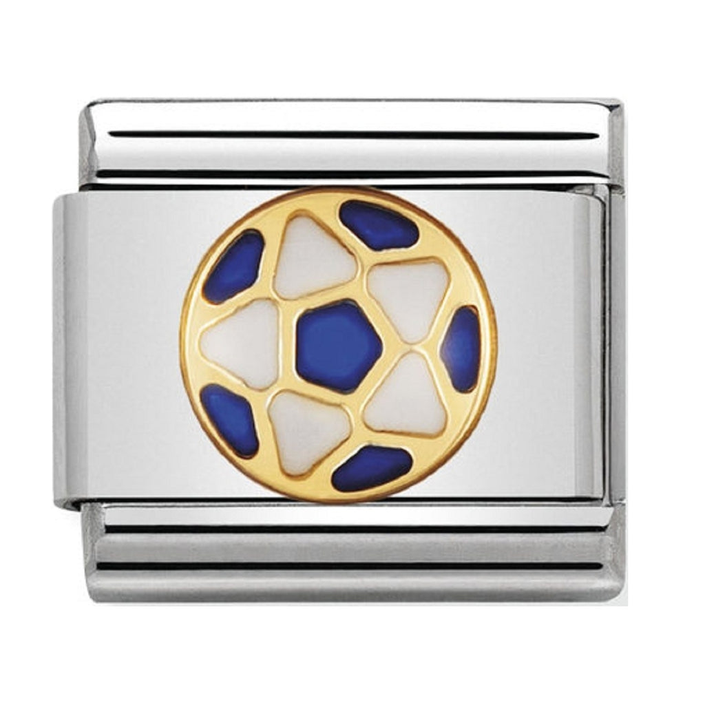 Nomination Charms Football Blue/White Classic Enamel