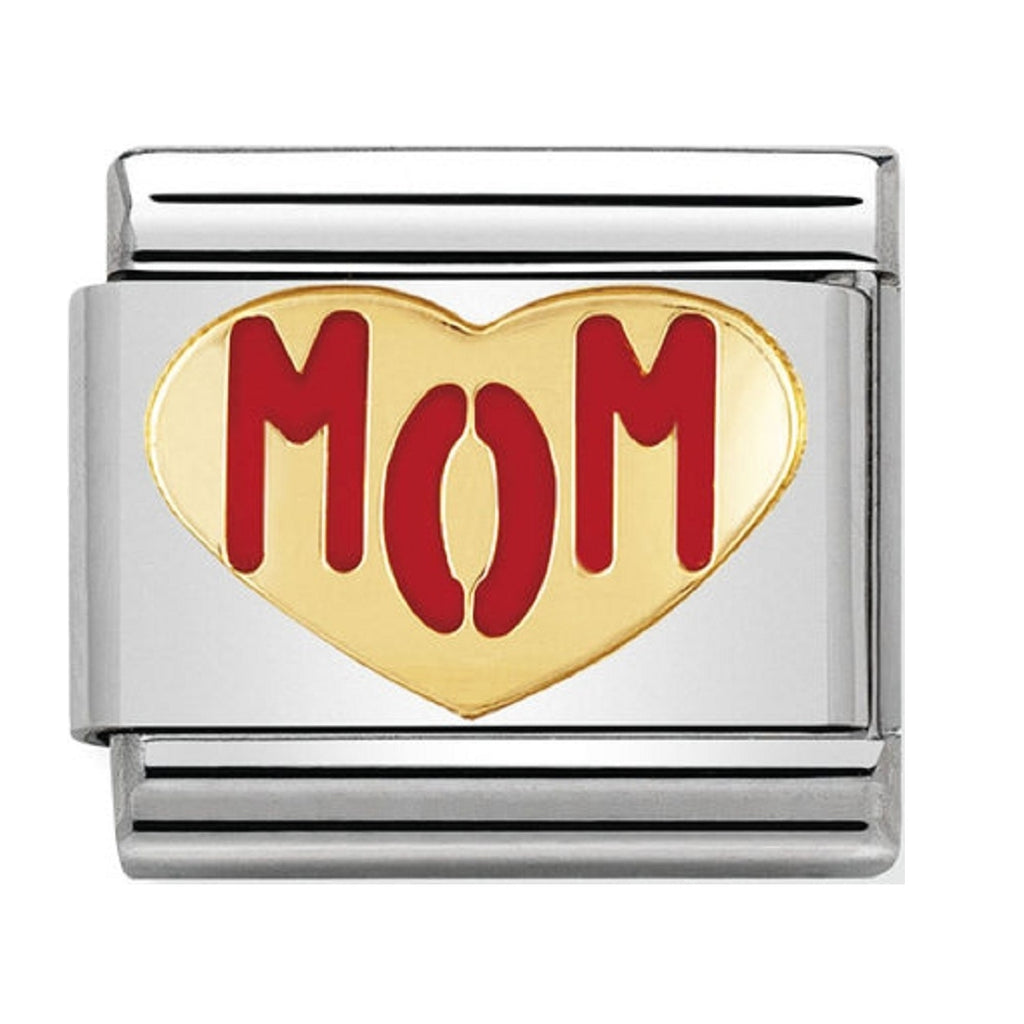 Nomination Charms Mom In Heart 18ct Gold and Enamel