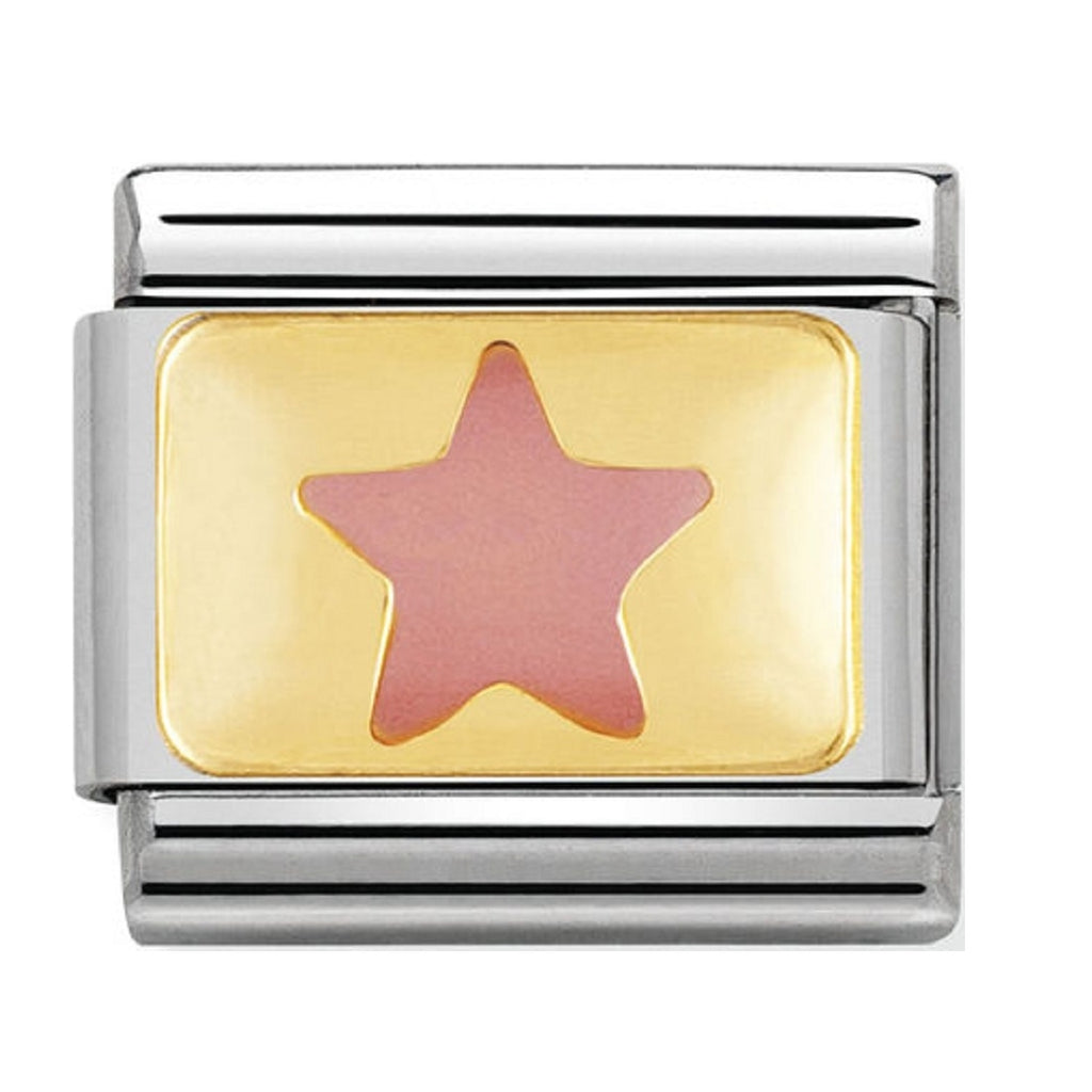 Nomination Charms Pink Star Gold Plaque