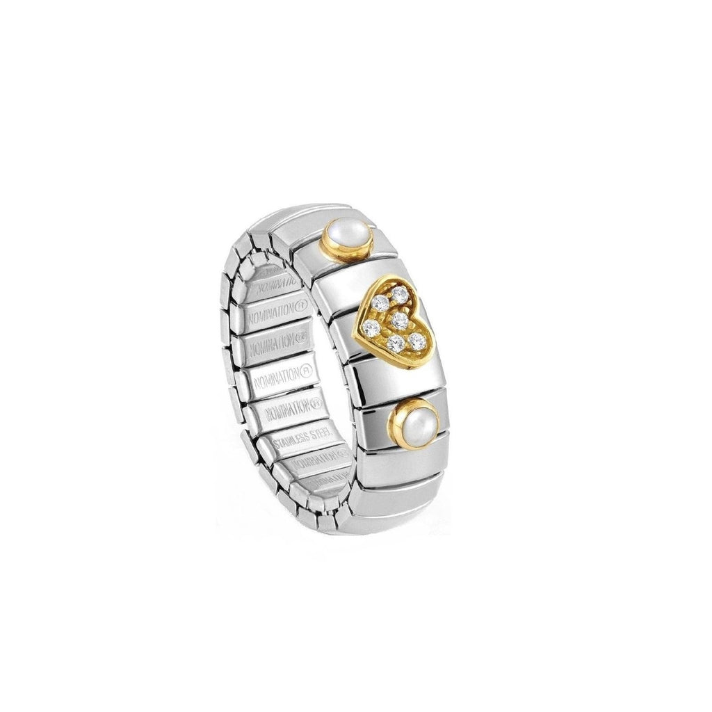 Nomination Extansion Ring with Gold Heart White CZ and Pearls