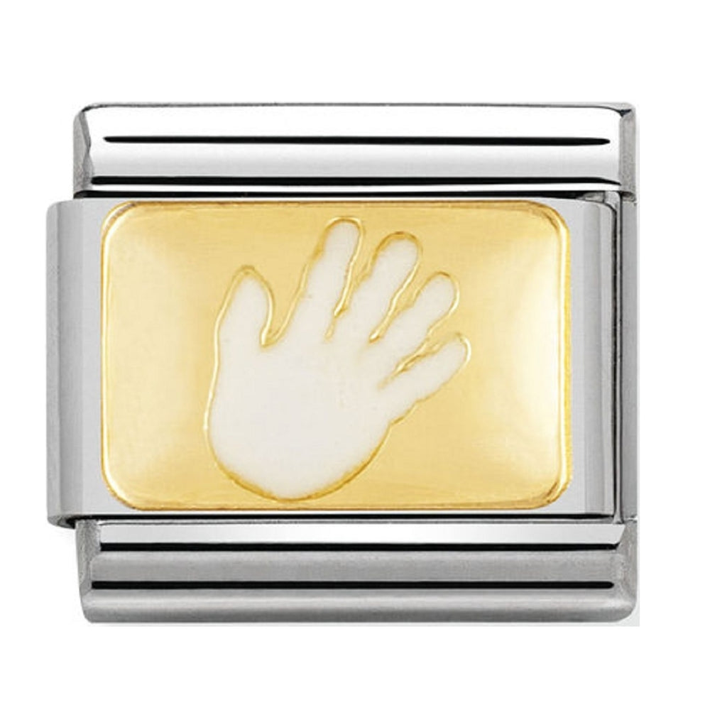 Nomination Charms White Hand Gold Plaque