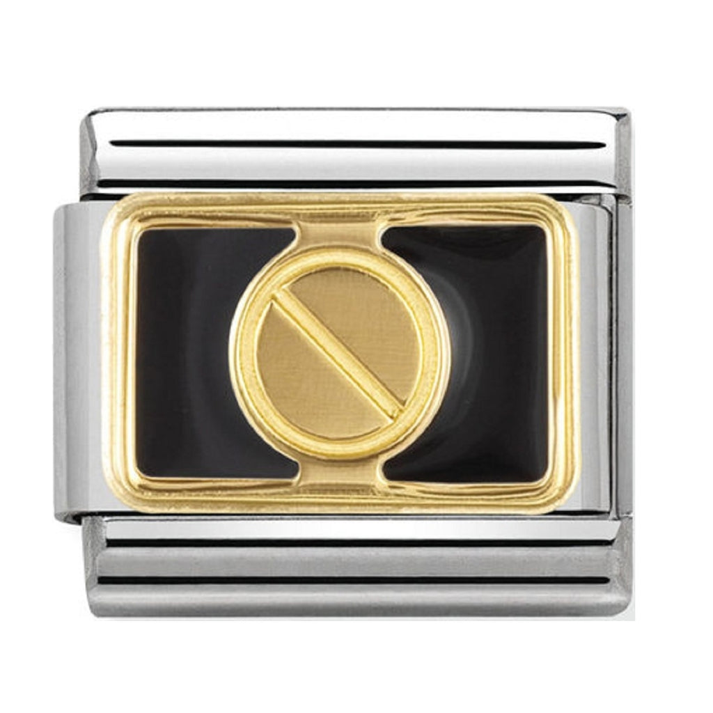 Nomination Charms 18ct Gold Screw with Black Enamel