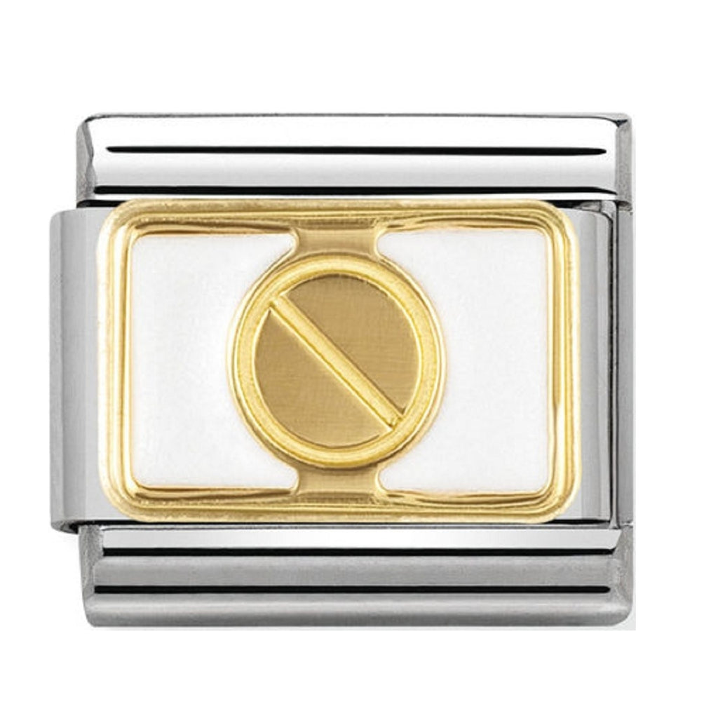 Nomination Charms 18ct Gold screw with White Enamel